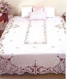 Luxury Bedding Sets On Sale Cutwork Embroidery, White Embroidery, Embroidery Designs, Vintage Tablecloths, Linen Tablecloth, Draps Design, Wedding Linens, Bed Linen Sets, Luxury Bedding Sets