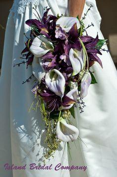 BRIDE SILK WEDDING BOUQUET PLUM LAPIS PURPLE WHITE 16 PC CUSTOM DESIGNS