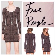"Free People Jacquard Bodycon Mini Dress.  NWT. Free People Intimately Collection Jacquard Printed Seamless Bodycon Mini Dress, 92% nylon, 8% spandex, washable, 11.5"" armpit to armpit which stretches up to 19"" (23"" all around which stretches up to 34"", 22"" arm inseam, 30.5"" length, stretchy jersey, straight hemline falls above knee, wide scoop neckline, long sleeves, pullover, measurements are approx.  No PayPal...No Trades.. Free People Dresses Mini"