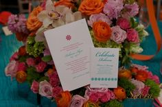 Orange and Pink Florals behind day of event Custom Stationery {Design: TableArt | Paper: The Papery of Philadelphia | Photo: Sabra Photography}