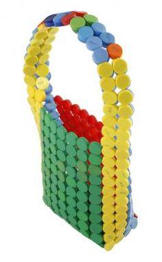 "Torebka z plastikowych nakrętek/ ""Bottle Top Bag"" by Athanasios Babalis. Reuse Material: Plastic drink bottle tops"