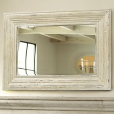 Large Whitewash Mirror- Large Wood Mirror.    This would look great over my fireplace.