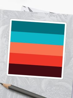 'Exotic ethnic Pattern Bohemian Chic Turquoise Orange Stripes' Sticker by Coral Colour Palette, Orange Color Palettes, Color Schemes Colour Palettes, Color Palate, Bright Color Schemes, Color Combinations, Orange Pink Color, Orange And Turquoise, Ethnic Patterns