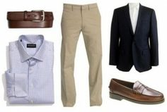 First Date Outfit - Guys, put your best-dressed foot forward for this outing.  Opt for a pair of dress pants, dress shirt and sport coat — no tie.  A sweater could be substituted for the jacket if that's more your style.  Don't forget the belt and above all, nice shoes