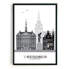 Poster 's-Hertogenbosch zwart-wit-grijs - MevrouwEmmer.nl - skyline poster DenBosch