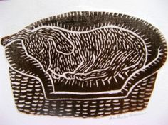 Dog in Basket, original linoblock print card