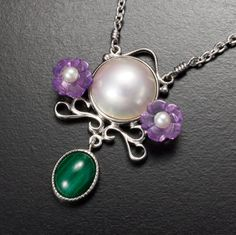 Violet motif mabe pearl silver necklace by KAZNESQ on Etsy