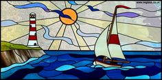Stained glass – Boat & lighthouse window – Verre et de vitrailes Custom Stained Glass, Faux Stained Glass, Stained Glass Designs, Stained Glass Panels, Stained Glass Projects, Stained Glass Patterns, Leaded Glass, Mosaic Glass, Glass Boat