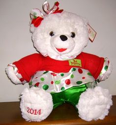 "2014 Walmart Snowflake Christmas Teddy, White Plush Bear, Girl Large 20"" CHEAPER THAN EBAY"