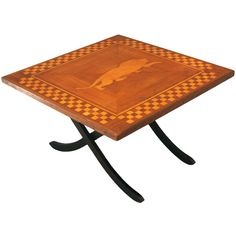 1930's Inlaid Coffee Table w/Prowling Lion | From a unique collection of antique and modern coffee and cocktail tables at https://www.1stdibs.com/furniture/tables/coffee-tables-cocktail-tables/