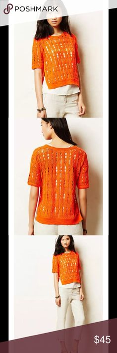 """ANTHRO Side-Slice Pullover Orange Open Knit Top $78 Anthropologie MOTH Side-Slice Midi Pullover Orange Open Knit Top Sz M  DETAILS With side-slits and an open knit, Moth's cropped pullover is an easy-breezy layer. By Moth Pullover styling Cotton, rayon, nylon Hand wash Medium 22.5""""L Bust 20"""" across Imported Anthropologie Tops"""