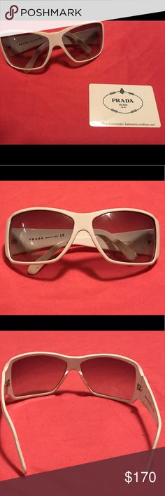 Prada White Sunglasses SPR 09G 😎 💯 Authentic   I ACCEPT REASONABLE OFFERS!!!  Gradient Gray Lenses  Glasses are used and have been worn!  Nice sassy sunglasses comes with original case. Certification of authenticity card and care instructions are included with your purchase. Prada Accessories Sunglasses