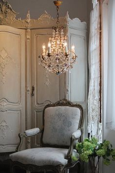 side chair, chandelier, armoire