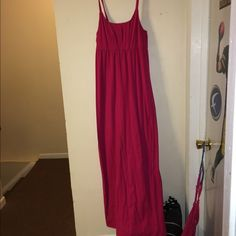 Pink sundress I bought this last year and never wore it. It is in like new condition. It is full length and it does have a built-in bra shelf. Mossimo Supply Co Skirts Maxi