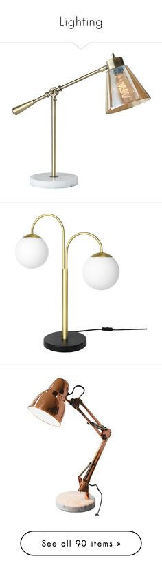 """""""Lighting"""" by emmeleialouca ❤ liked on Polyvore featuring home, lighting, desk lamps, white marble lamp, antique brass lamps, adesso, antique brass desk lamp, adesso lighting, metal desk lamp and metal lamp"""