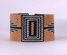Art Deco Beaded Peyote Bracelet Pattern by divelladelights on Etsy, $7.00