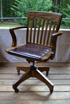 vintage wood oak office chair swivel wheels vinyl seat brass nail heads panchosporch antique deco wooden chair swivel