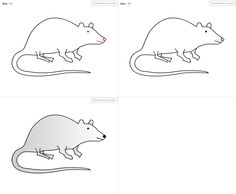 How to draw Rat for kids step by step drawing tutorial, draw Rat for kids step by step easy