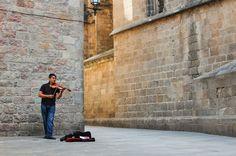 Violinist Outside La Catedral - Barcelona, Spain