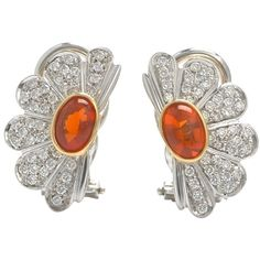 Pre-owned Pair Of Roberto Coin Diamond And Mexican Opal Earrings ($2,150) ❤ liked on Polyvore featuring jewelry, earrings, accessories, none, diamond jewellery, diamond earrings, 18 karat gold jewelry, round diamond earrings and preowned jewelry