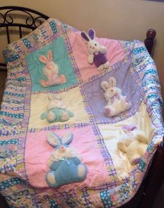 3D Plush Bunny Rabbit Quilt Comforter Blanket 48x60 Pink Purple Yellow Plaid #Novelty
