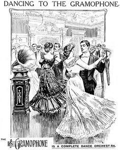 Dancing to the gramophone - what an amazing delight (and technological advancement) that must have been back in its day.- 1900s
