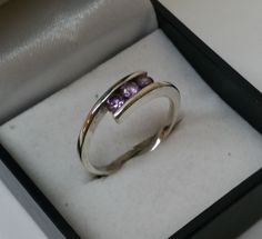 Vintage Ringe - 18,6 mm Ring Silber Kristallsteine flieder SR568 - ein Designerstück von Atelier-Regina bei DaWanda