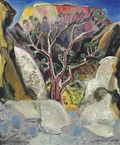 Marguerite Zorach (American, Desert Pine, Oil on canvas, 24 x 20 in. Fauvism Art, American Modern, Landscape Paintings, Landscapes, Female Art, All The Colors, Oil On Canvas, Coloring Books, Modern Art