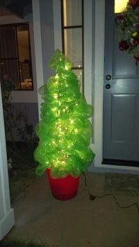 Use a tomato cage, a couple of rolls of Deco Mesh, and wha-lah! Instant Christmas tree! *This is just the bare bones tree. You can decorate this any way you ...
