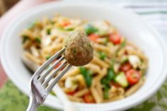 This was really healthy, tasty, easy and chock full of hidden good food for kids...Turkey Meatballs with Summer Pasta Salad @Plum Organics