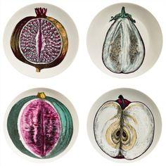 A Set of Four Piero Fornasetti Pates FromThe Sezioni Di Frutta Series.   | 1stdibs.com