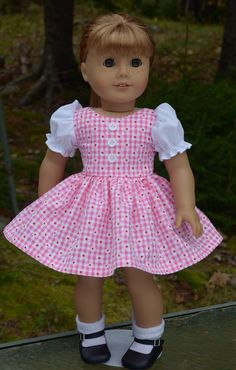 1950's Inspired American Girl Doll Dress Pink by CottonCandyClub
