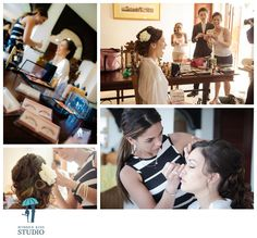 Photodocumentary style of bride getting ready with bridesmaids / family