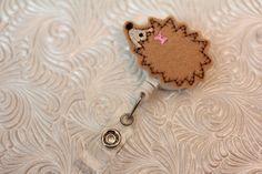 adorable hedge hog   badge clip  nurse badge by DefinitelyYou
