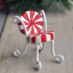 ♡ Christmas Candy Cane Miniature Fairy Chair...Cute! ♡