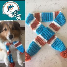 Dolphins Dog Scarf, Miami Dolphins Dog Scarf, Dolphins, Dog Scarf, Dolphins Pet Costume, Miami Football, Dolphins Football, Dolphins Dog Pet by TheHookster on Etsy
