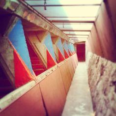 Red, white and blue in the #TaliesinWest Cabaret Theater #FrankLloydWright #WrightSites #Architecture #Design #Nature #OrganicArchitecture #Masonry #Phoenix #Scottsdale #Desert