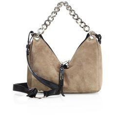 Jimmy Choo Raven Suede Chain Crossbody Bag found on Polyvore featuring bags, handbags, shoulder bags, light mocha, brown handbags, brown purse, brown suede purse, suede handbags and cross-body handbag