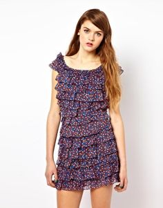 French Connection Ruffle Silk Dress