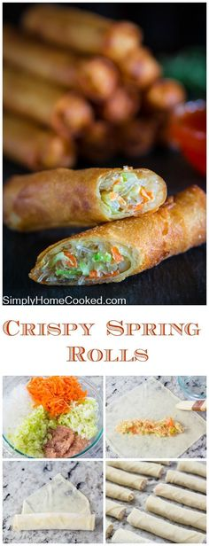 Fried spring rolls stuffed with bean threads, cabbage, carrots, and celery. #chinesefoodrecipes