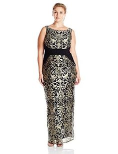 d3fcb29b7d6 Adrianna Papell Women's Plus Size Sleeveless Jersey/Lace Column Gown,  Black/Gold, 16W at Amazon Women's Clothing store: