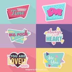 Memphis love sticker collection Free Vector