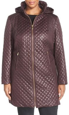 Via Spiga Stand Collar Quilted Coat with Detachable Hood (Plus Size)