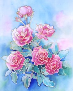 Pink Roses Original silk painting by ColoursandTextures on Etsy, £95.00