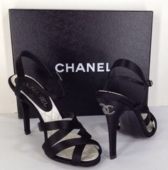 8b511648d3d eBay sellers Fabulous Fashions · CHANEL Sandals Heels Shoes Crystal CC 12A  Black Size 37 New NIB  950 Retail On Sale
