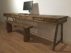 BESPOKE RECLAIMED PINE DESK WITH 4 DRAWERS   These are the best quality product you will find and is genuine reclaimed pine.  We are a respected seller on who are renowned for our high quality products.  Choose from a variety of options.  Dimensions 240cm (W) x 60cm (D) x 81cm (H) unit shown; Tudor Oak finish  (The price is for the desk only, it does not include the desktop, monitor or bench)    THE A-FRAME LEGS Made from Furniture Graded Steel bar, Fillet welded to a steel fixing plate with…