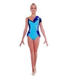 Gorgeous blue leotard made from stunning velvet and blue lycra patterns, decorated with exquisite embroidery, crystals and feathers. Perfect look for young and adult athletes. Gymnastics Leotards With Shorts, Blue Leotard, Athletes, Feathers, Competition, Light Blue, Short Sleeves, Velvet, One Piece