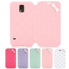 Cute For Samsung Galaxy S5 SV i9600 G900 3D Bow Bling Pearl Leather Case Cover