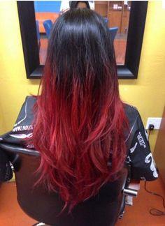 Coloration ombré hair rouge cerise