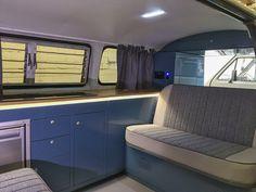 T2 Bay Window interior in VW Neptune Blue